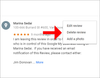 This will give you the option of Editing or Deleting the Review (or adding a Photo).