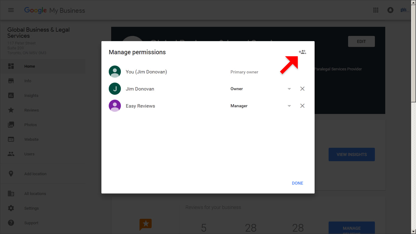 In the top right corner of the Managers permissions box that appears, click the Invite new users icon.
